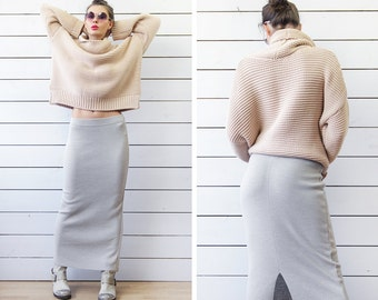 Vintage melange grey merino wool knit fitted high low waist floor length maxi skirt S