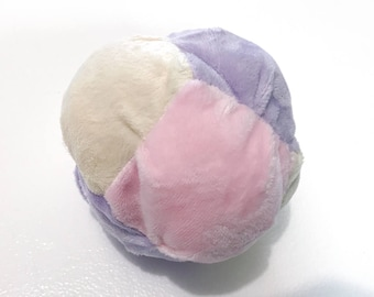 Plush Toy Bisket Ball for Babies or Toddlers with Rattle inside - Soft Toy - Pastel Minky Soft Toy Multicolored Ball - Ready to Ship