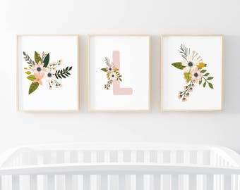 Blush Sprigs Initial 3 Bundle Nursery Art. Nursery Wall Art. Nursery Prints. Nursery Decor. Girl Wall Art. Floral Art. Instant Download.