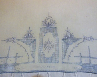 Vintage, Madeira, Hand  Guest Towel, Blue Stitching,  White Linen Stitched Hand-towel