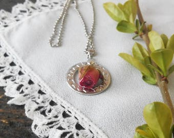 Rose pendant on chain, Hoop and Tiny Pink Roses, Natural dry rose,  Shabby pendant,Natural jewelry, floral jewelry, Bohemian, Boho necklace