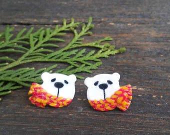 Small ear posts white polar bears. Kawaii earrings. Winter studs. Christmas earrings. Cute Christmas gift. Small studs. Animals jewelry