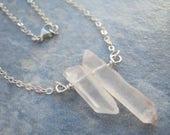 Quartz Crystal Point Necklace, Sterling Silver Raw Quartz Bar Necklace, Minimalist, Choose Length, READY To SHIP QSS6