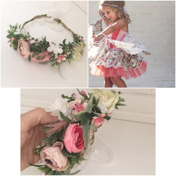 Fairy pink flower crown- Flower crown- Well dressed wolf- Floral crown- Bridal Blush Crown- Flower Girl- Spring Wedding- Dollcake -tutu du m
