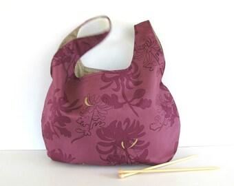 Knot knitting bag, Large project bag, Tote bag, Deep Plum