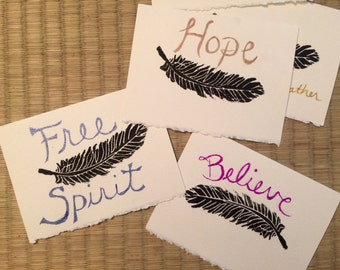 Spirit Feather printed note cards set of 5