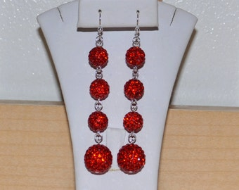 30% OFF - 10mm and 14mm Red Pave Crystal Disco Ball Dangle Earrings