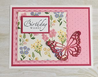 Greeting card, birthday card, handmade card, all occasion card, butterfly, flowers, embossed
