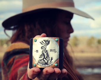 Be Rare Jackalope Fringe Western Leather Cuff