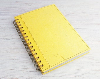 Blank Recycled A5 Notebook / Sketchbook / Art Journal / spiral bound notebook / Eco journal / unlined notebook / yellow notebook