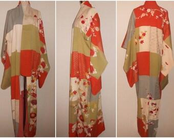 Vintage kimono - Ko-Furisode, Yuzen, Hand-embroidery, 1960s