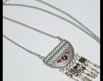 Silver Pendant necklace.  Ethnic Style. Deep Pink Rhinestones. Purple faceted crystal fringe. Silver Plaited Chain. No clasp. Handmade OOAK