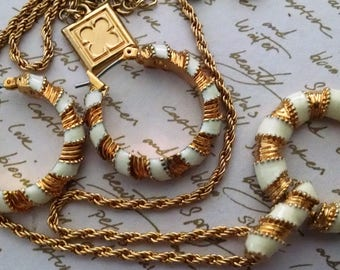 Necklace Earring Set Vintage Designer Gold with White Enamel Work Hoops Classic Career Evening Runway Chic