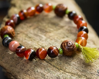 Carnelian and howlite bracelet with tassel and wooden beads
