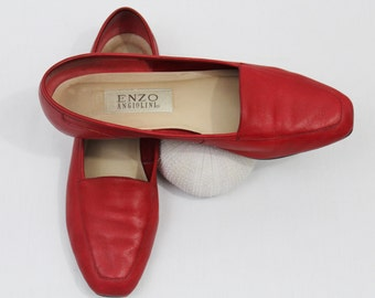 Vintage 80s Leather Red Slip On Flats Enzo Angiolini Loafers Women's Shoes Size 7.5 8