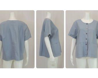 ERIKA Linen Cotton Blend Blouse Size Large L XL