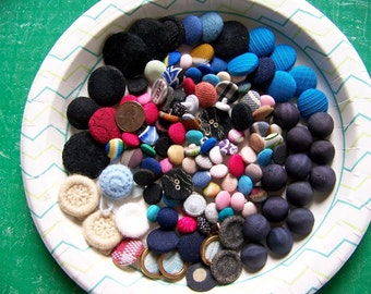 Lot of 100 Plus Vintage Fabric Buttons Mostly Shanks