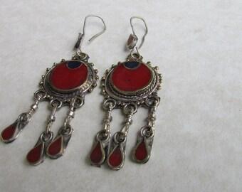 Kuchi Red Dangle Earrings