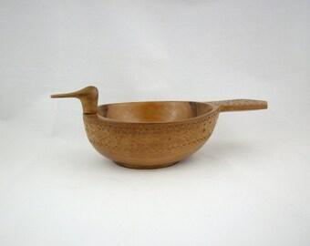 Vintage Hardcarved Wood Duck Bowl, Danish Modern Design
