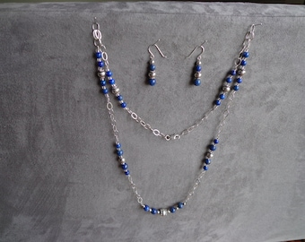 Lapis / silver beads .925 silver necklace, earrings.