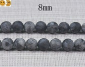 15 inch strand of Black labradorite matte round beads 8mm