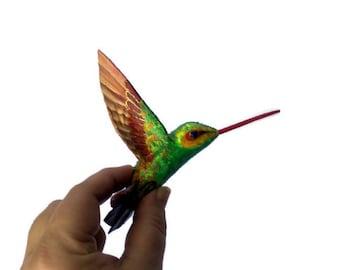 hummingbird art  papier mache Colibrì sculpture  bird ornaments