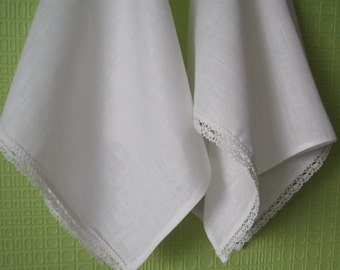 Linen kitchen towels set of 2 natural white linen dish towels tea towels with lace Mother's day gift