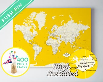 Personalized Gift Push Pin World Map Canvas Yellow - Ready to Hang - High Detailed - 240 Pins + 198 World Flag Sticker Pack Included