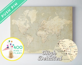 Canvas Push Pin World Map Vintage - Ready to Hang - High Detailed -240 Pins + 198 World Flag Sticker Pack Included - Gift for travel