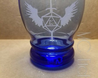 D20 Blue Old Fashiond Glass