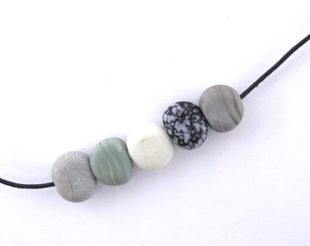 Beach pebble necklace - river stone -  80 cm long - handmade lampwork beads