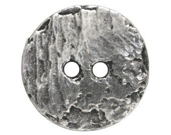 6 Cornflake 11/16 inch ( 17 mm ) Metal Buttons Antique Silver Color