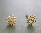 14k gold spiral stud(s), super TINY spiral recycled solid gold made in USA