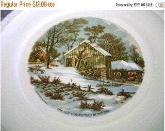 ON SALE Vintage Currier & Ives The Old Homestead in Winter 10 1/4 plate Shabby Chic Cottage Chic Traditional