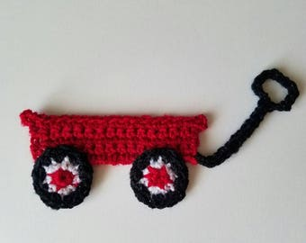 "1pc 6"" Crochet RED WAGON Applique"