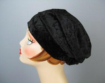Black Turban / Vtg 60s / Glentex Crushed Velvet Black Turban