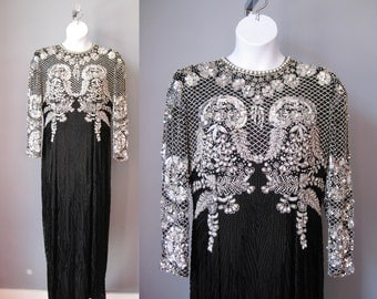 Showstopper Beaded Gown / Vtg 80s / Oleg Cassini Black Tie Silk Black and White Beaded Gown / Elaborate Mother of the Bridge Gown