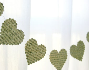 Vintage Book Paper Heart Garland - Party - Event - Holiday Decorations - Wedding Decor - Christmas
