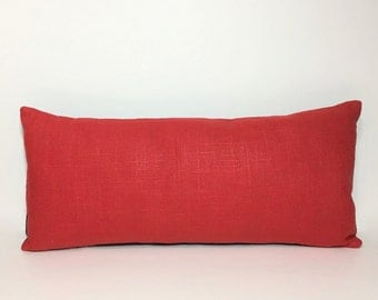 PILLOW, Little Red linen pillow. INSERT INCLUDED. Petite lumbar pillow. Poppy red linen with navy. home decor accent