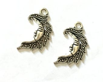 4 PCS  Moon Man Charms Pendants. 4 Antique silver or 4 brushed gold.