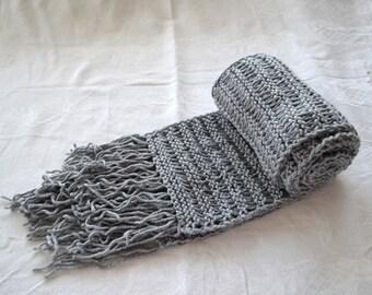 knit scarfs, Grey Knitted long Mens Scarf, crochet scarf, thick fringe scarves, womens scarf, fashion warm scarf womans scarf