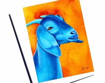 Blue Goat Card Watercolor Card Nubian Goat Art Blank Greeting Card Thank You Card Farm Animal Card Fine Art Card Watercolor Goat