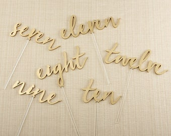 Gold Table Number Picks, Wedding Table Numbers,Gold Table Numbers, Event Table Number Picks, Gold Pick Table Numbers