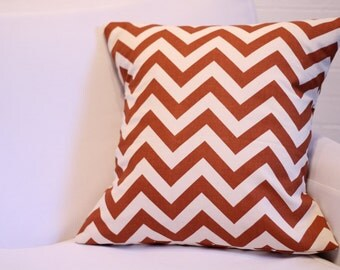"17x17"" Rust & Natural Chevron Pillow Cover"