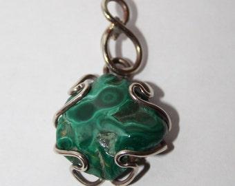 Tiny russian malachite pendant, Russian Jewerly  FREE SHIPPING