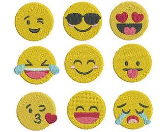 Mini Emoji Embroidery Design Set - Instant Download