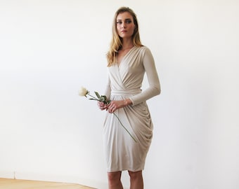 Long sleeves midi bridesmaids champagne dress, Midi bridesmaids champagne wrap dress 1130