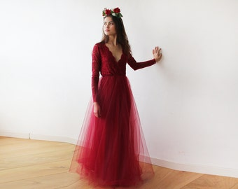 Bordeaux tulle and lace long sleeves gown, Tulle and lace Bordeaux maxi dress 1125