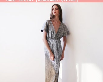 20% OFF Maxi bat sleeves pleated dress, Silver maxi gown, Glamorous party dress 1065