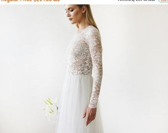 Spring Sale Round Neck-Line Long Sleeves Sheer Lace and Maxi Tulle, Tulle and Lace bridal gown 1152